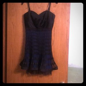 Bcbg black and royal blue party dress